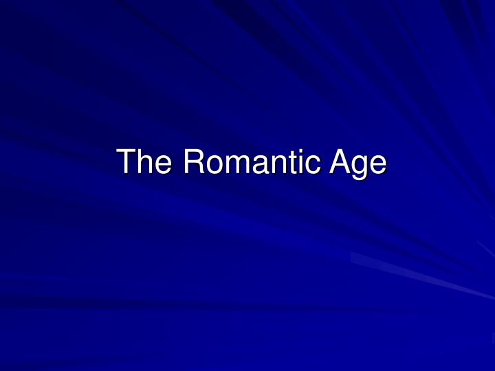 the romantic age n.