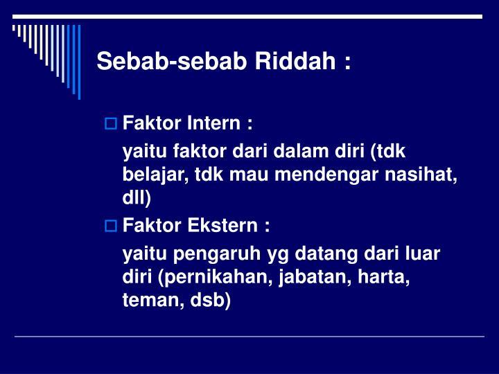 Sebab-sebab Riddah :