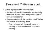 fears and criticisms cont