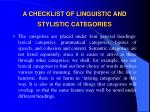 a checklist of linguistic and stylistic categories