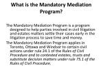 what is the mandatory mediation program