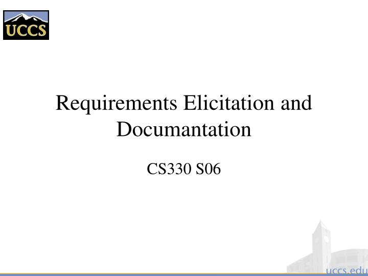requirements elicitation and documantation n.