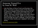 someone named eva by joan m wolf