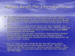 member benefit plan information cont
