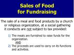 sales of food for fundraising