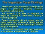 the inspection panel findings