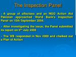 the inspection panel