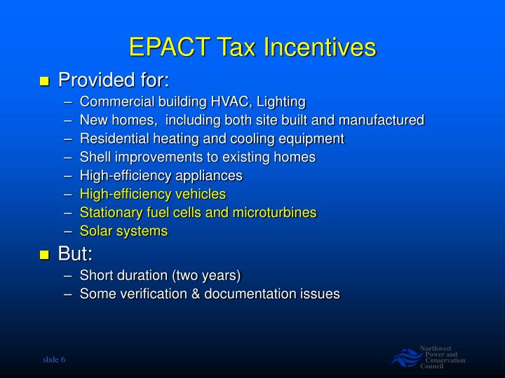 EPACT Tax Incentives