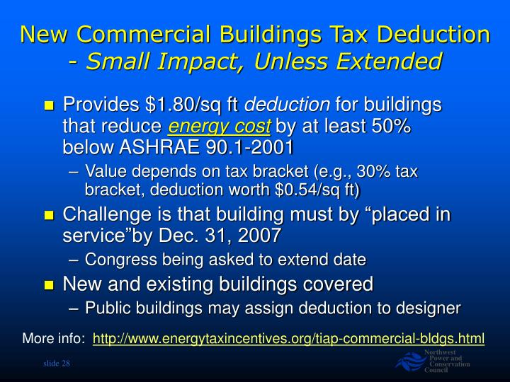New Commercial Buildings Tax Deduction -