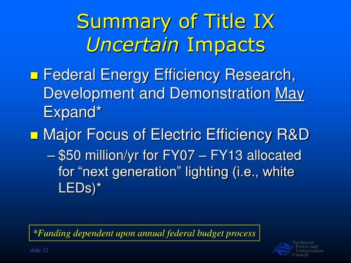 Summary of Title IX