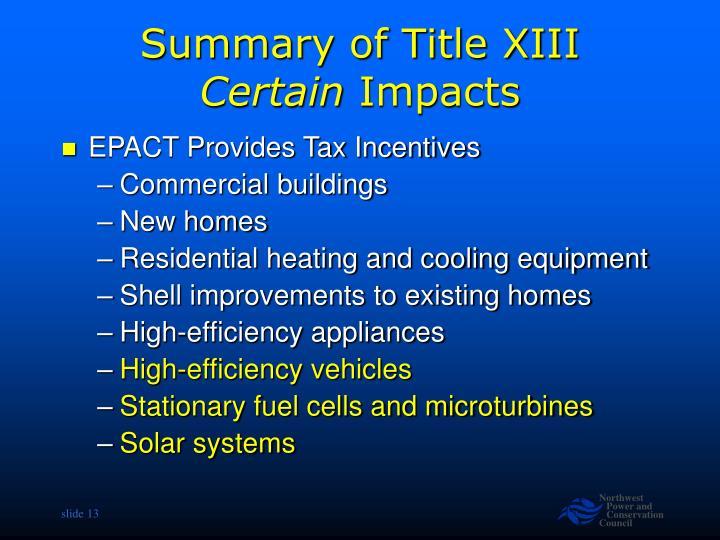 Summary of Title XIII