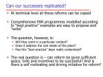 can our successes replicated