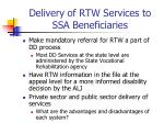 delivery of rtw services to ssa beneficiaries