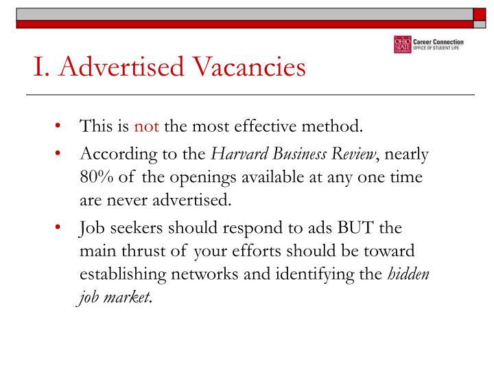 I. Advertised Vacancies