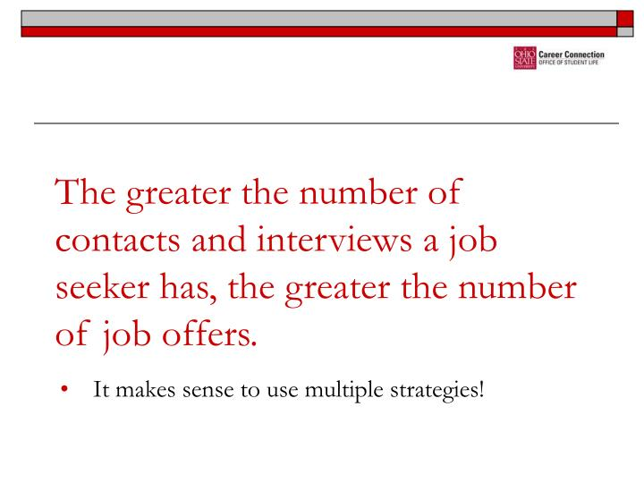 The greater the number of contacts and interviews a job seeker has, the greater the number of job offers.