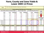 farm county and iowa yields lower 2009 12 prices