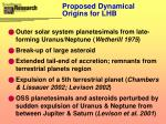 proposed dynamical origins for lhb