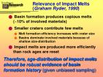 relevance of impact melts graham ryder 1990