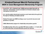 kindred samuel merritt partnership msn in case management mentorship program
