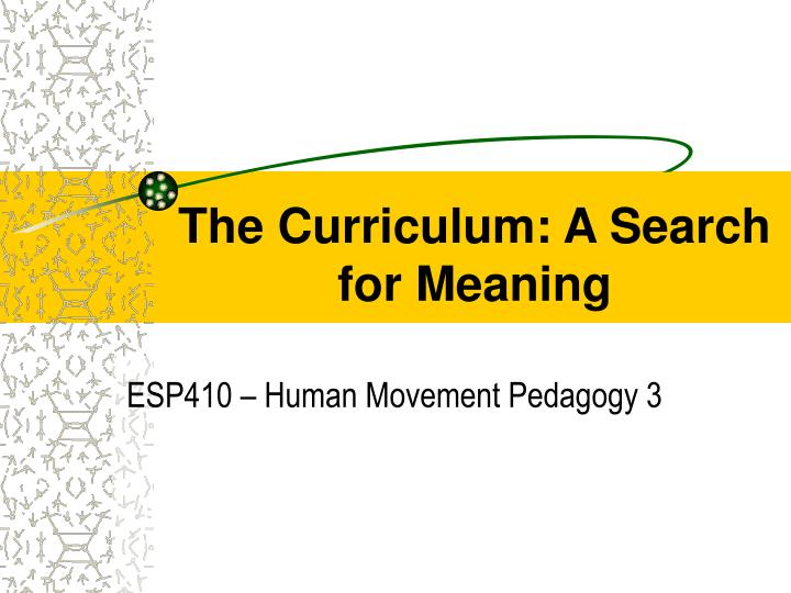 the curriculum a search for meaning n.