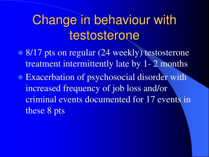 Change in behaviour with testosterone