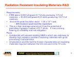 radiation resistant insulating materials r d