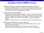 examples of recent dmdc surveys