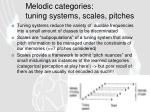 melodic categories tuning systems scales pitches