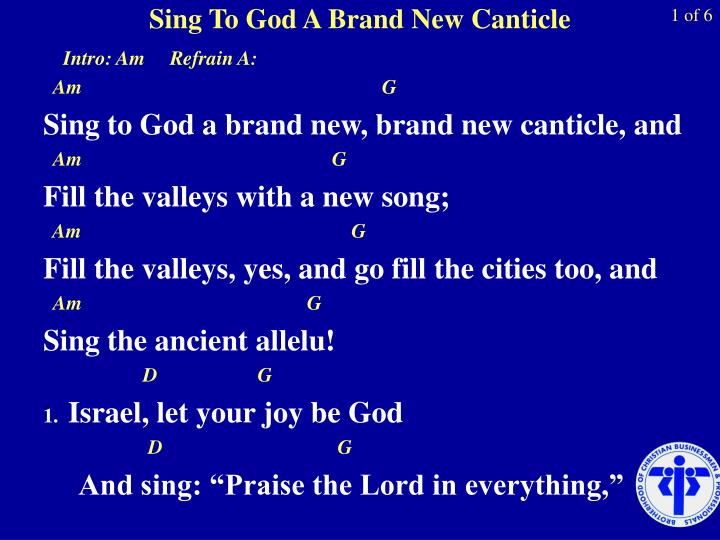 sing to god a brand new canticle n.
