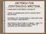 criteria for continuous writing