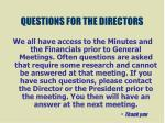 questions for the directors