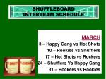 shuffleboard interteam schedule