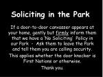 soliciting in the park