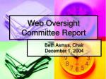 web oversight committee report