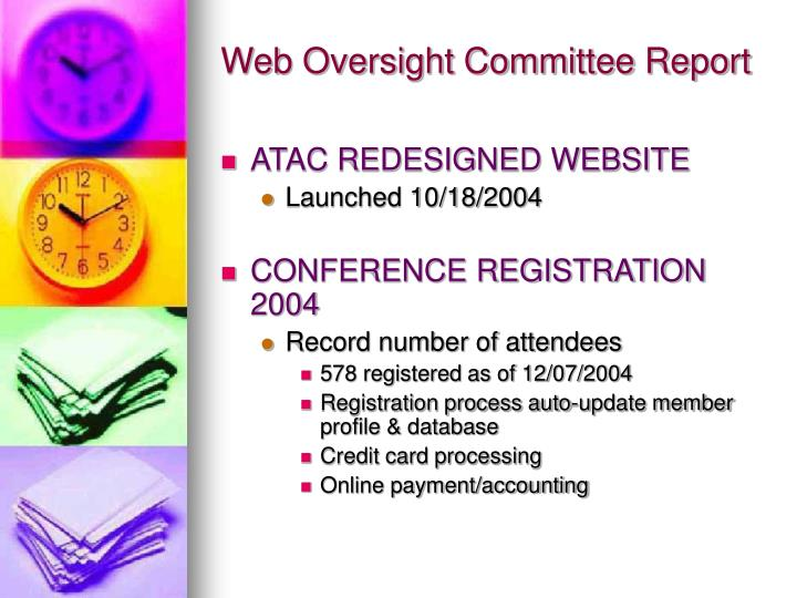 Web oversight committee report1