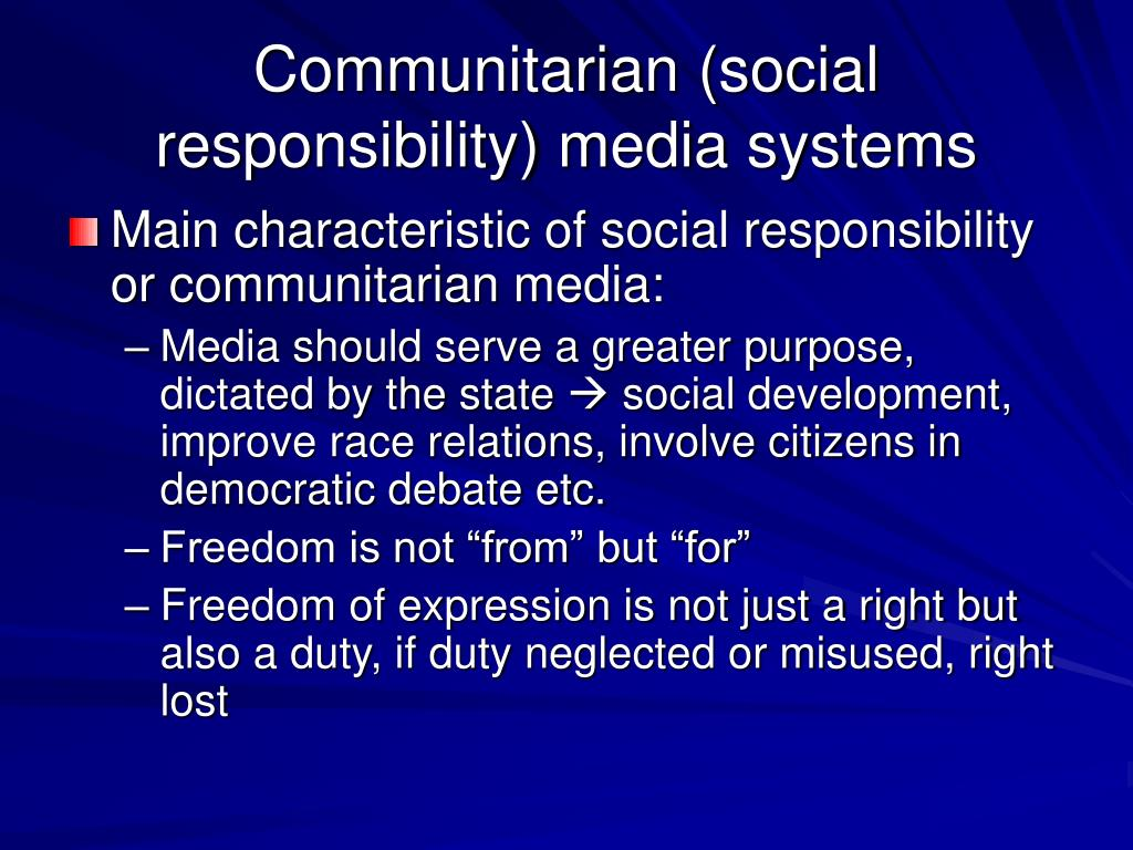 Communitarian (social responsibility) media systems