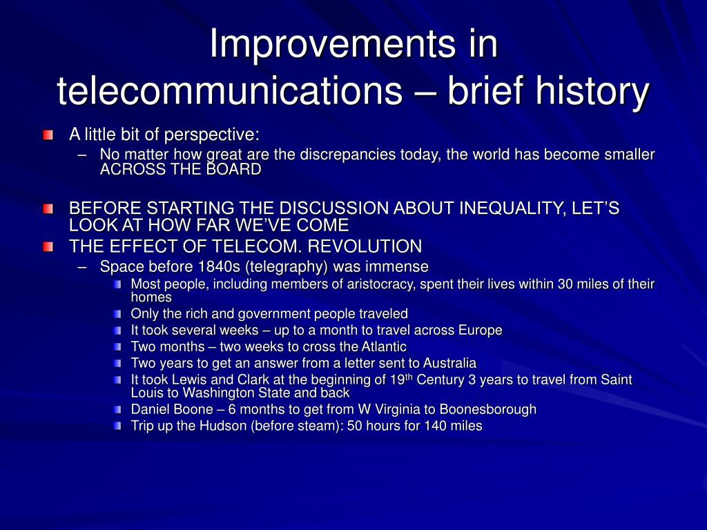 Improvements in telecommunications – brief history