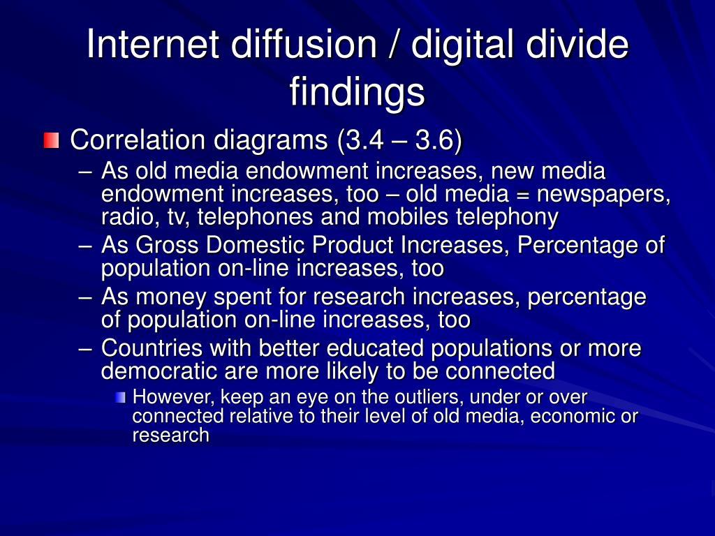 Internet diffusion / digital divide findings