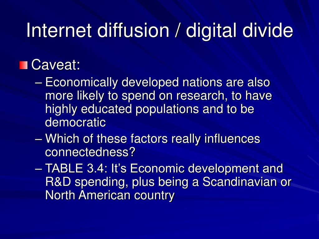 Internet diffusion / digital divide