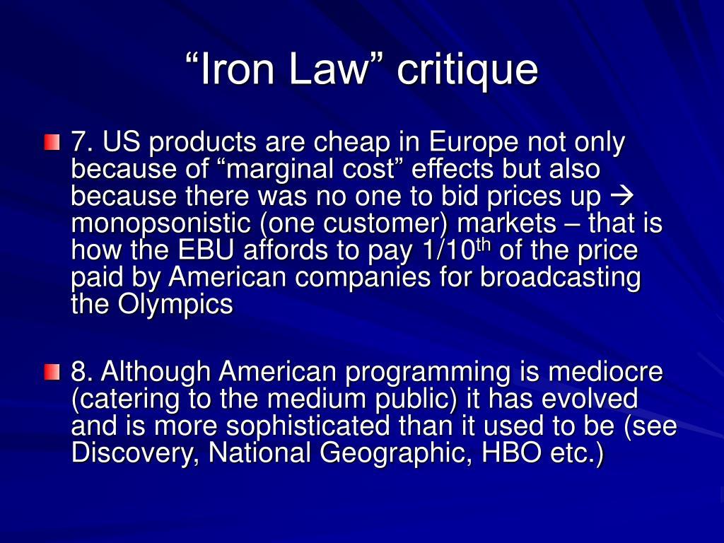 """""""Iron Law"""" critique"""