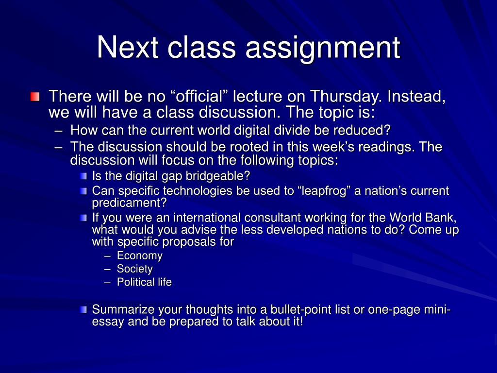 Next class assignment