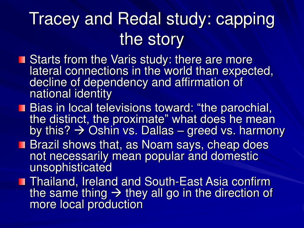 Tracey and Redal study: capping the story