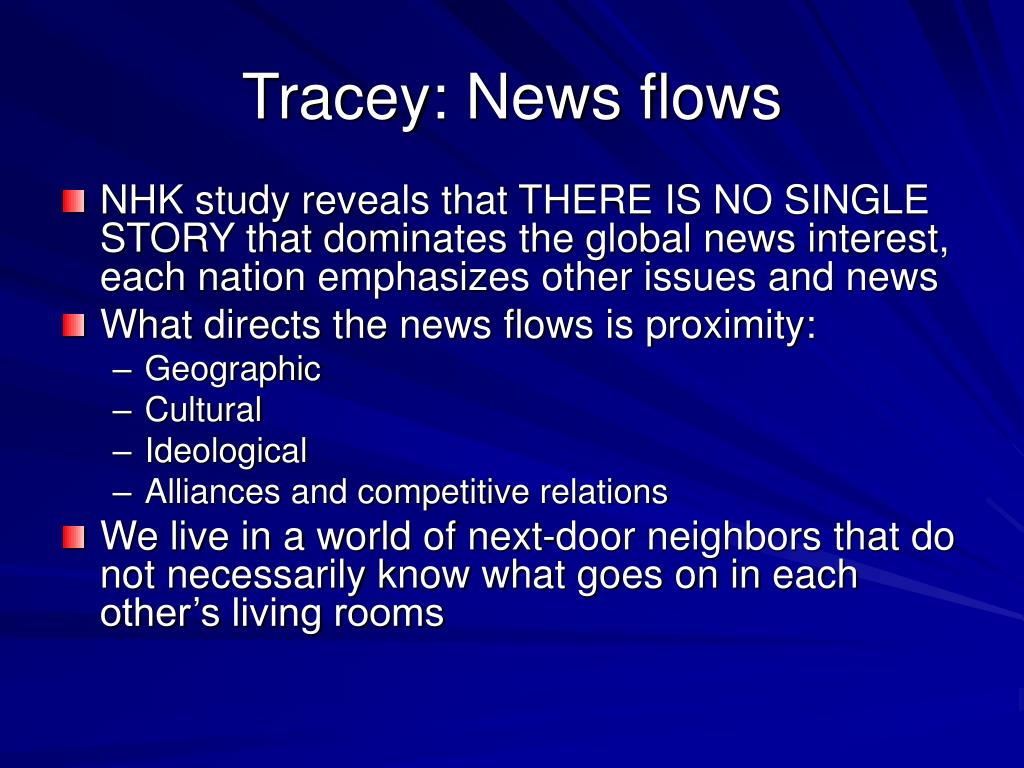 Tracey: News flows