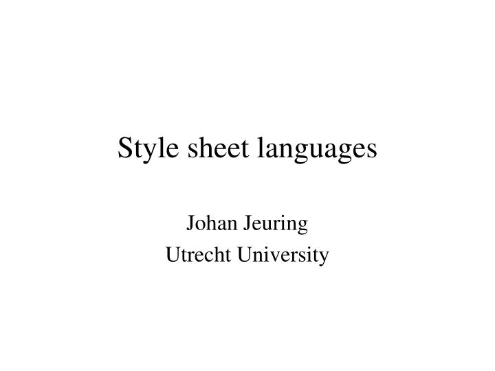 style sheet languages n.