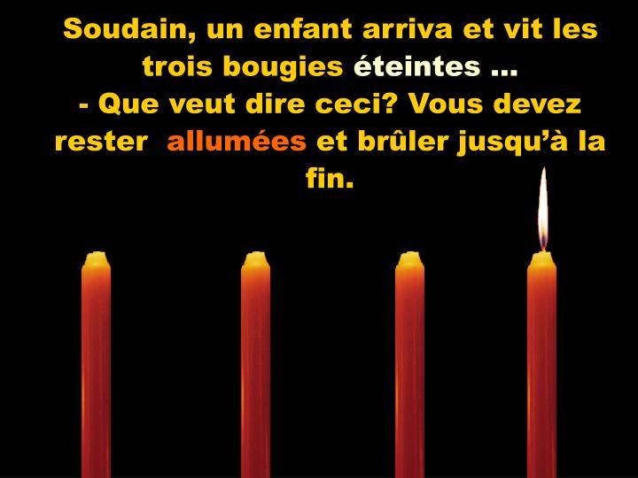 Soudain, un enfant arriva et vit les trois bougies