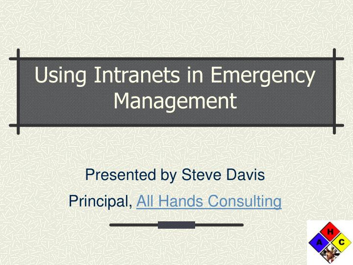 using intranets in emergency management n.