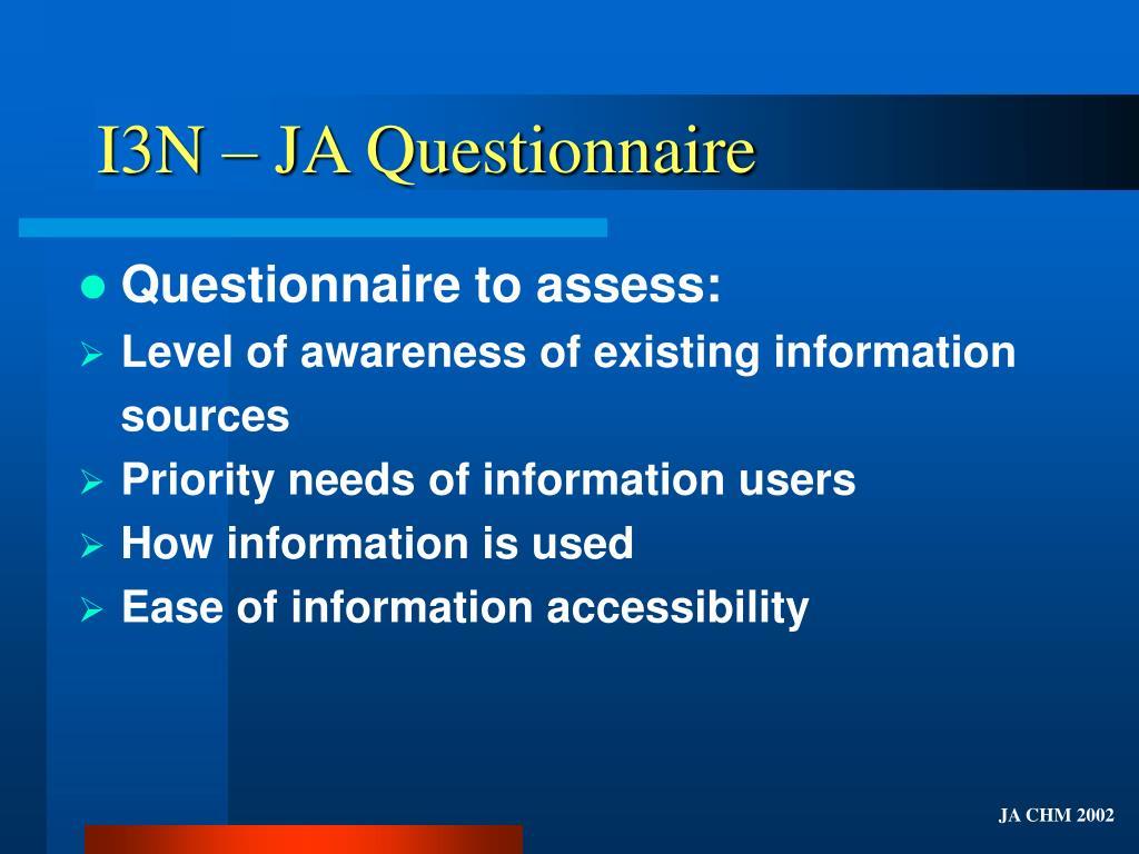 I3N – JA Questionnaire