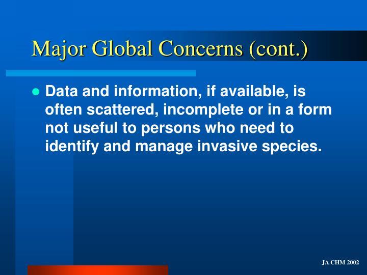 Major global concerns cont