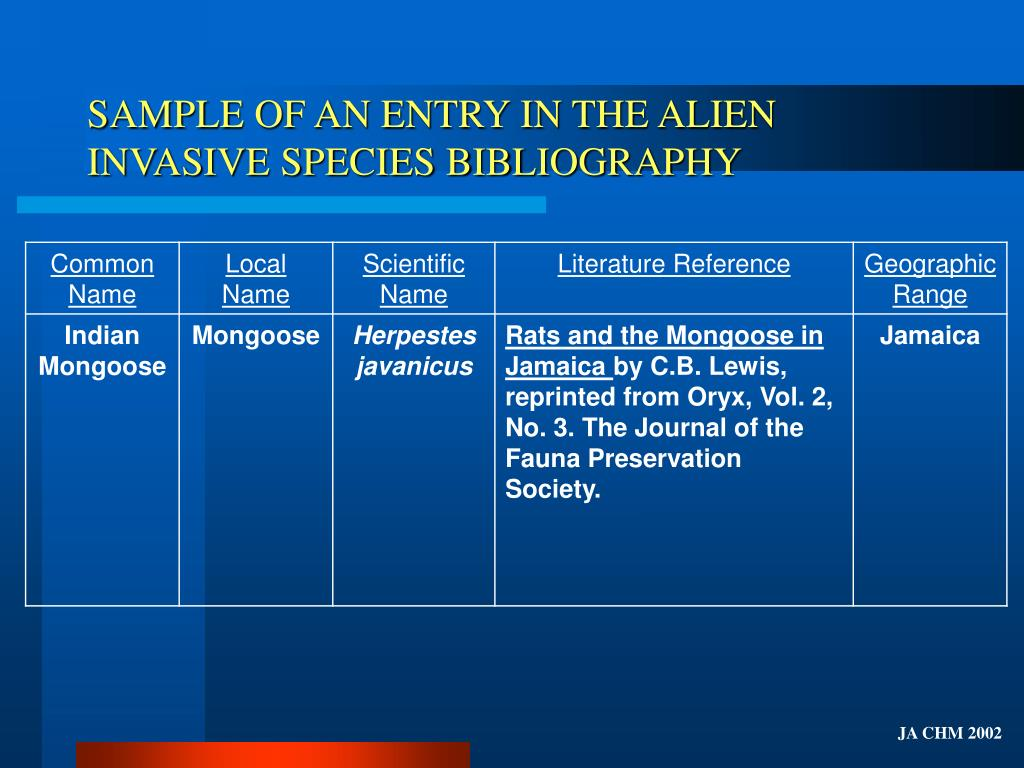 SAMPLE OF AN ENTRY IN THE ALIEN INVASIVE SPECIES BIBLIOGRAPHY