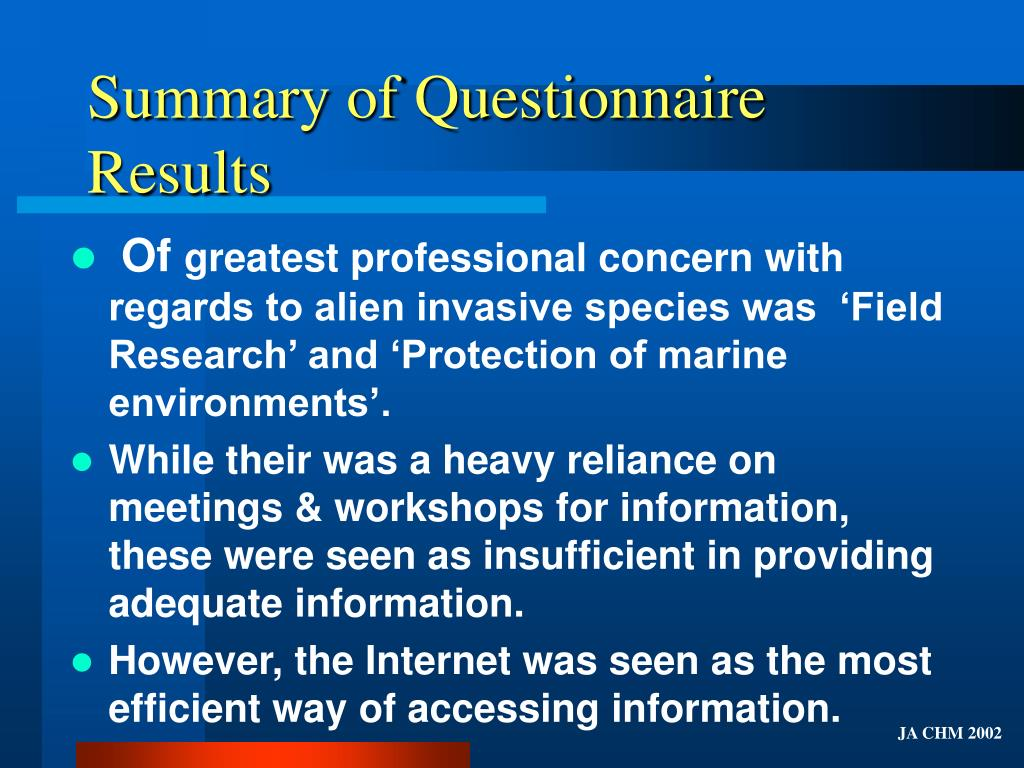Summary of Questionnaire Results